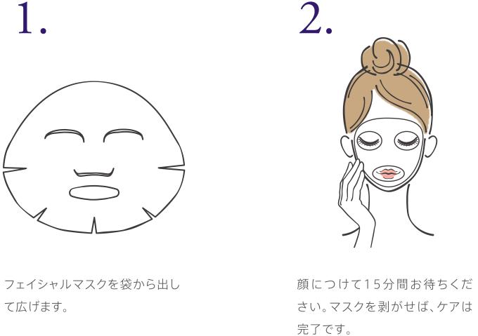 1.フェイシャルマスクを袋から出して広げます。 2.顔につけて15分間お待ちください。マスクを剥がせば、ケアは完了です。