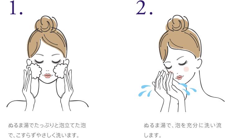 1.ぬるま湯でたっぷりと泡立てた泡で、こすらずやさしく洗います。 2.ぬるま湯で、泡を充分に洗い流します。